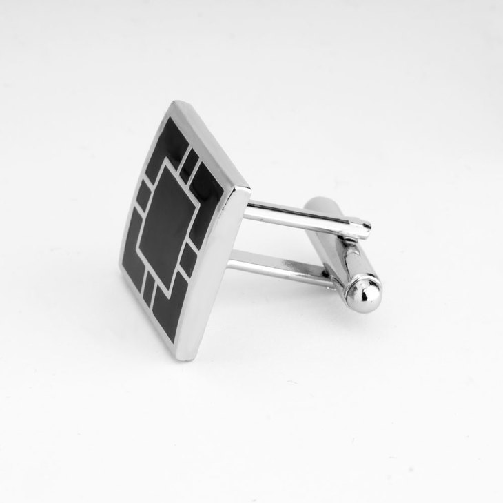 Square Black & Silver Cufflinks - Picture 2