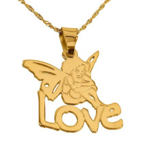 24k Gold Plated Angel Pendant with Name