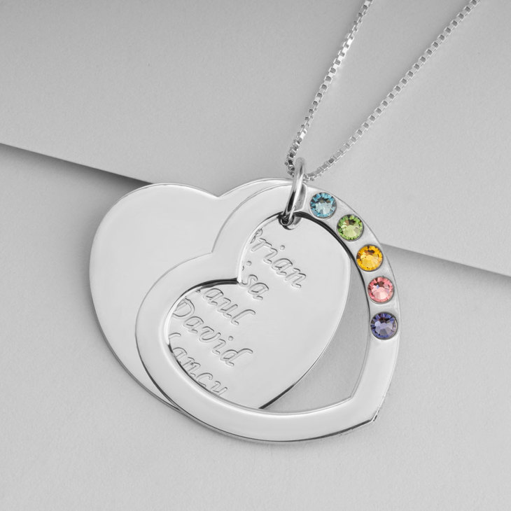 Heart Birthstone Mother Necklace - Picture 2