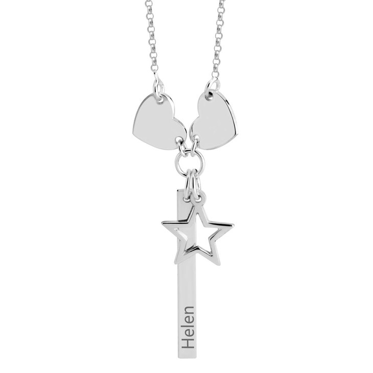 Vertical Bar Necklace with Hearts