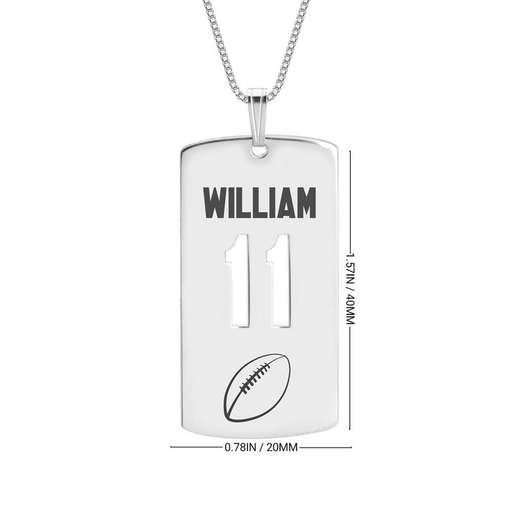 Personalized Dog Tag Sport Necklace - Information