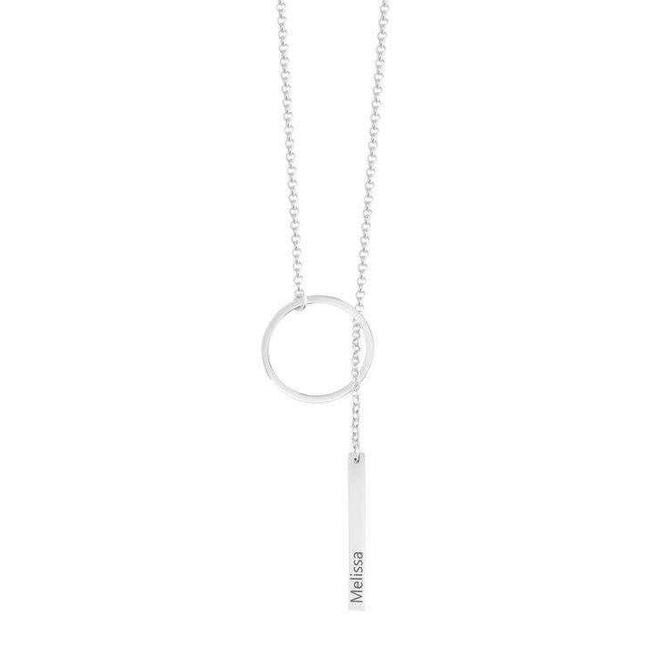 Engraved Hanging Bar Necklace