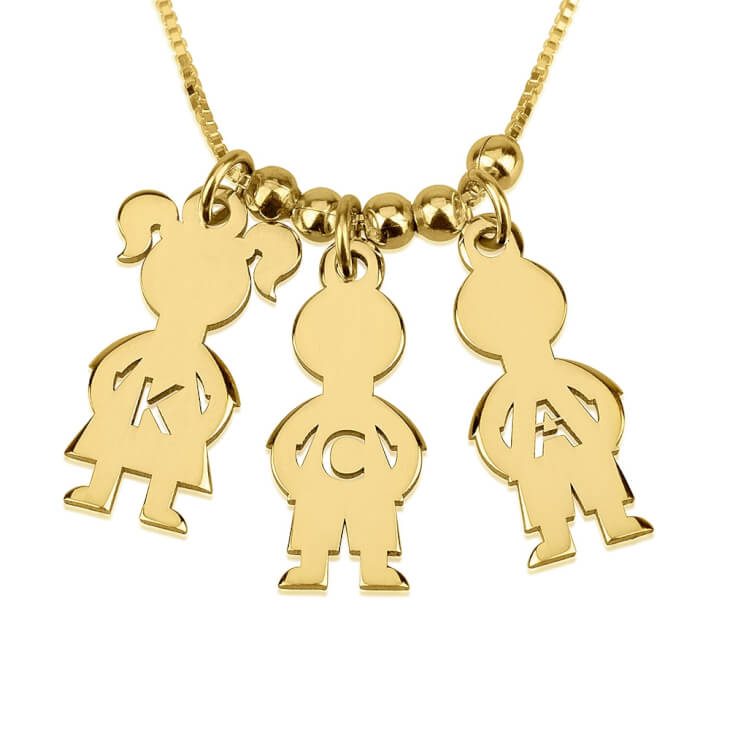 24k Gold Plated Mother\'s Necklace Boy And Girl