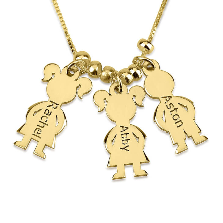 24k Gold Plated Mother\'s Necklace Boy And Girl  - Picture 2
