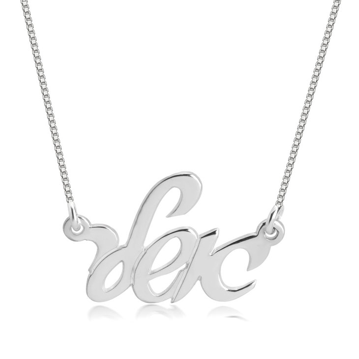 Hebrew Cursive Name Necklace