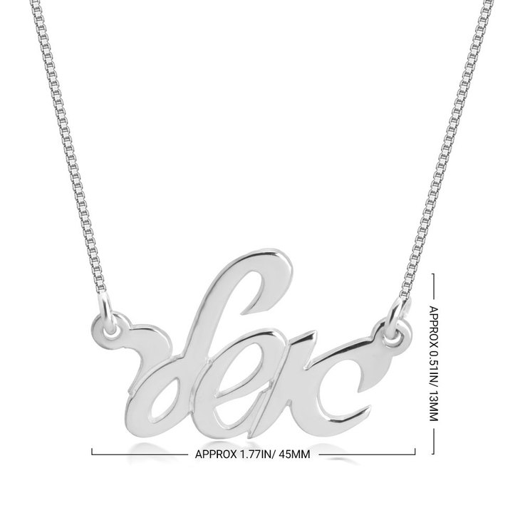 Hebrew Cursive Name Necklace - Information