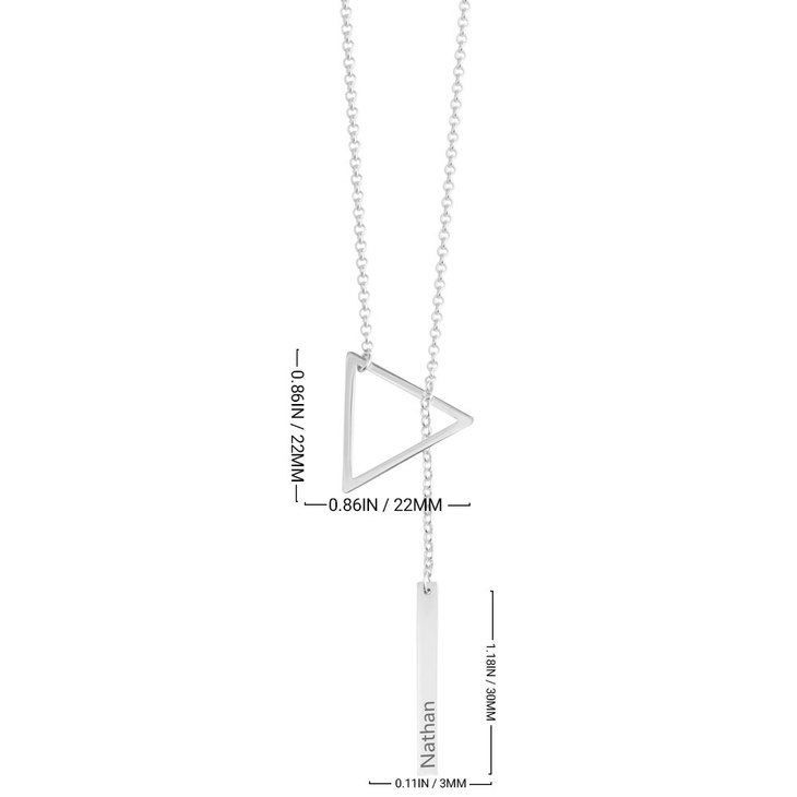 Engraved Hanging Bar & Triangle Necklace - Information