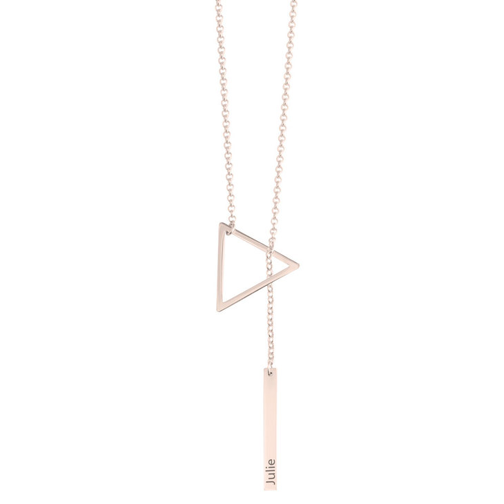 Engraved Hanging Bar & Triangle Necklace