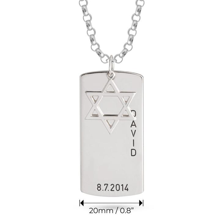 Star of David Dog Tag Necklace - Information