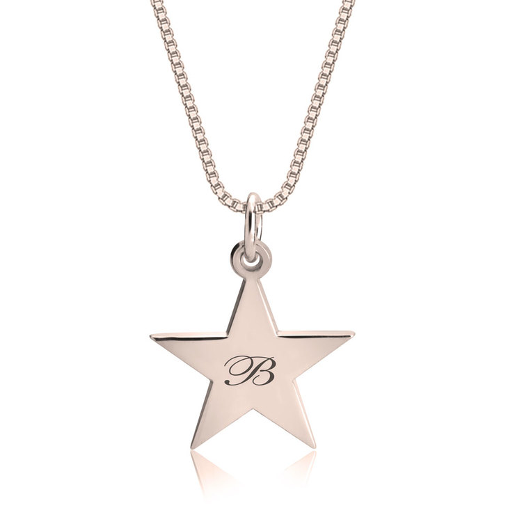 Delicate Engraved Star Necklace