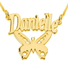 14k Gold Butterfly Pendant with Name