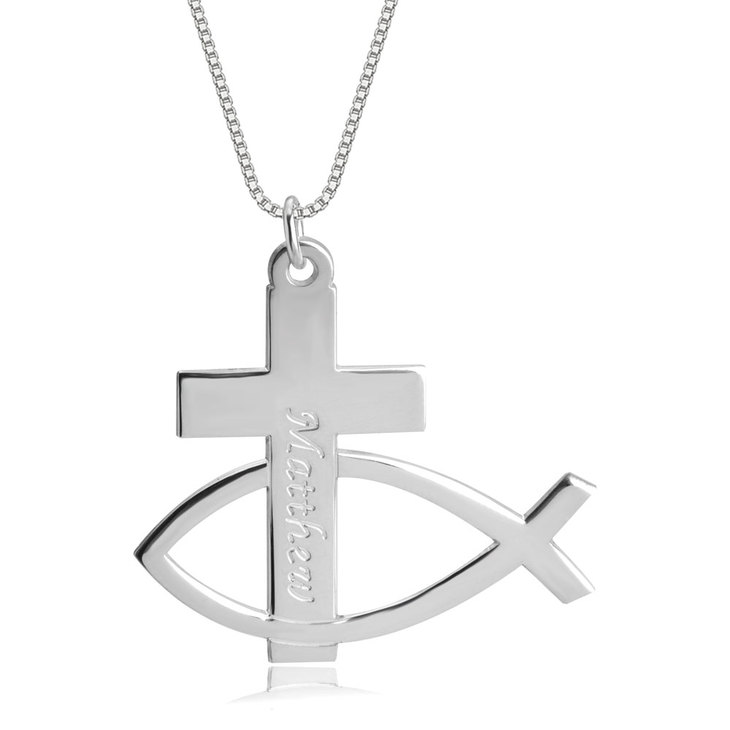 Personalized Cross Fish Necklace