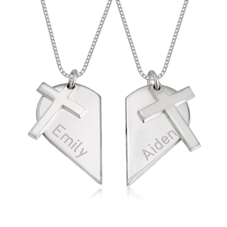 Couples Heart Necklace with Cross