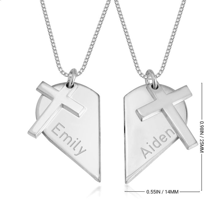Couples Heart Necklace with Cross - Information