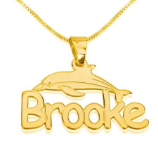 14k Gold Dolphin Pendant with Name