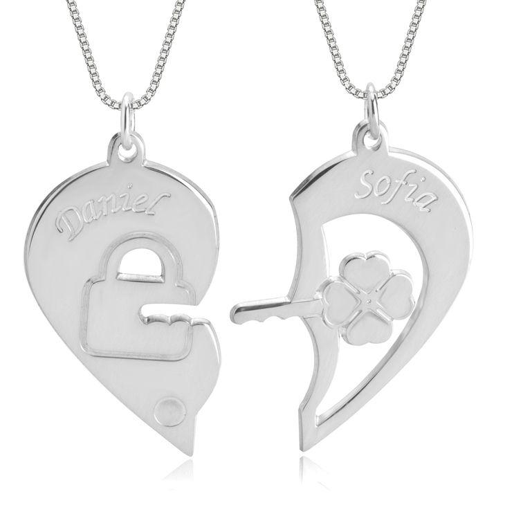 Lock and Key Necklace for Couples