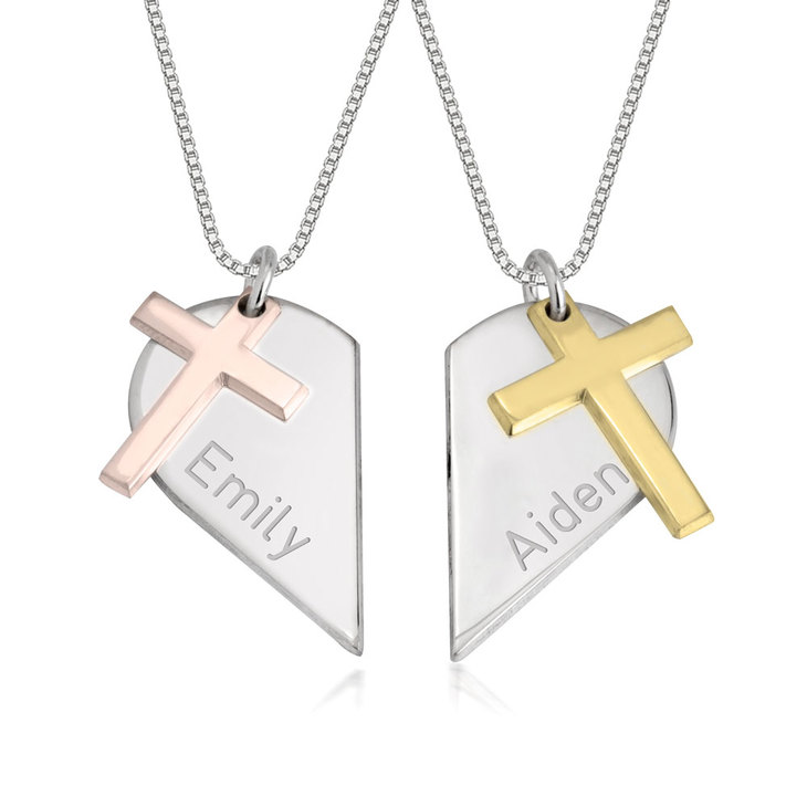 Two Tone Couples Heart Necklace with Cross