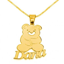14k Gold Teddy Bear Pendant with Name