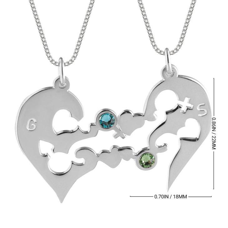 Half Heart Necklace with Birthstones - Information