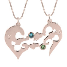 Half Heart Necklace with Birthstones