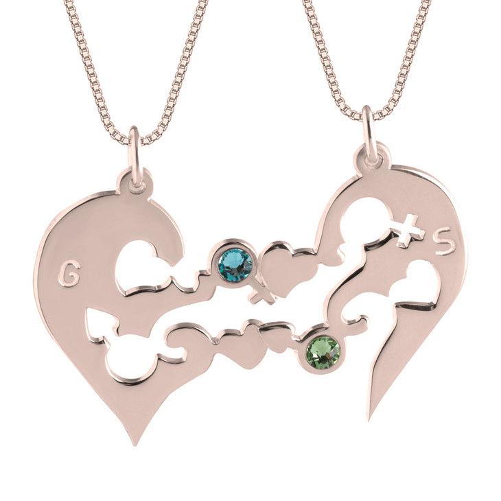 Half Heart Necklace with Birthstones