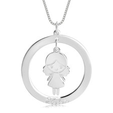 Disc Necklace for Mom with Charm