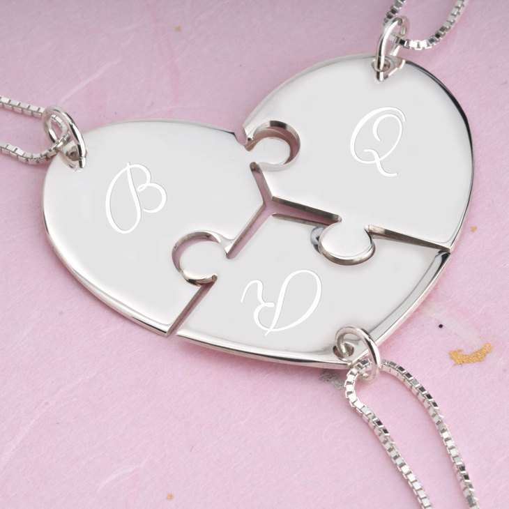 3 Piece Initial Puzzle Necklace - Picture 2