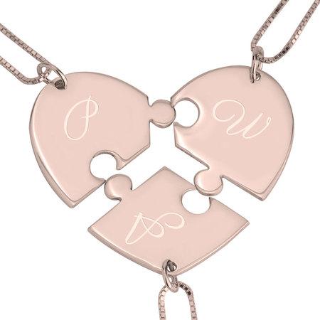 3 Piece Initial Puzzle Necklace
