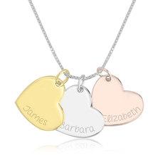 Collar de Corazón Grabado de Tres Tonos
