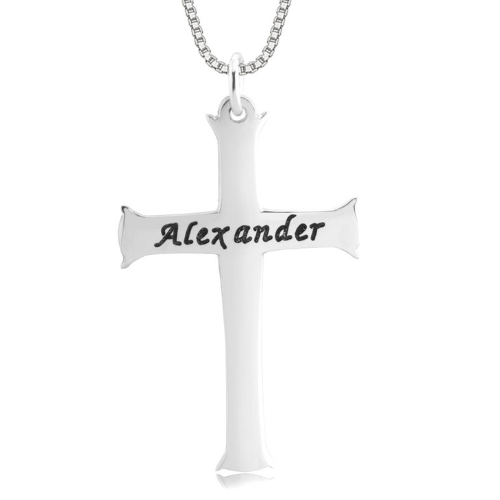 Engraved Unique Cross Necklace