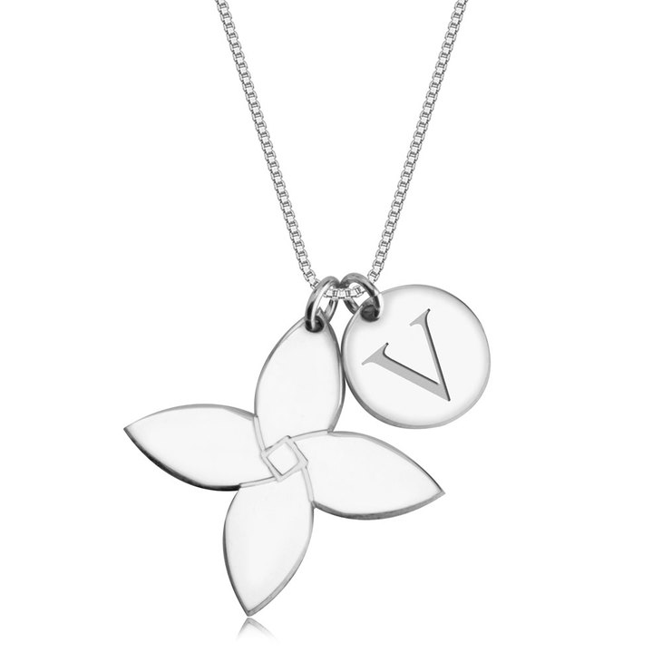 Personalized Initial Flower Necklace