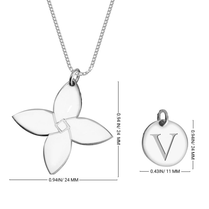 Personalized Initial Flower Necklace - Information