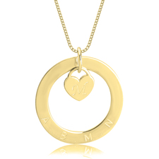 Personalized Disc Necklace with Inside Heart