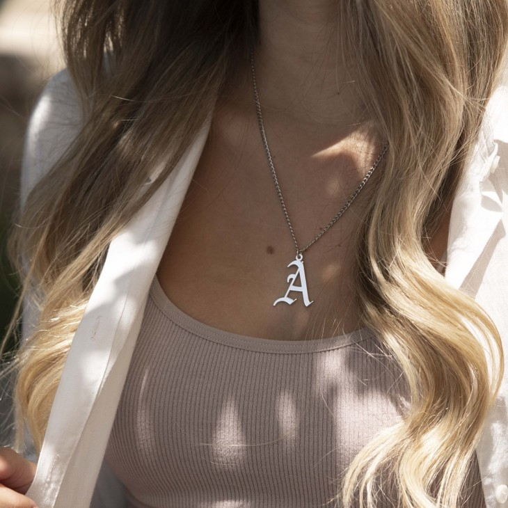 Gothic Initial Necklace - Model