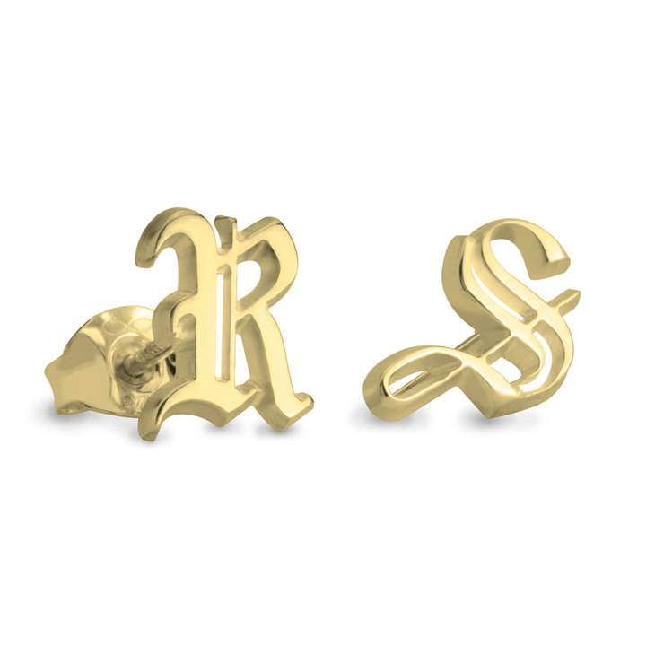 Gothic Initial Stud Earrings