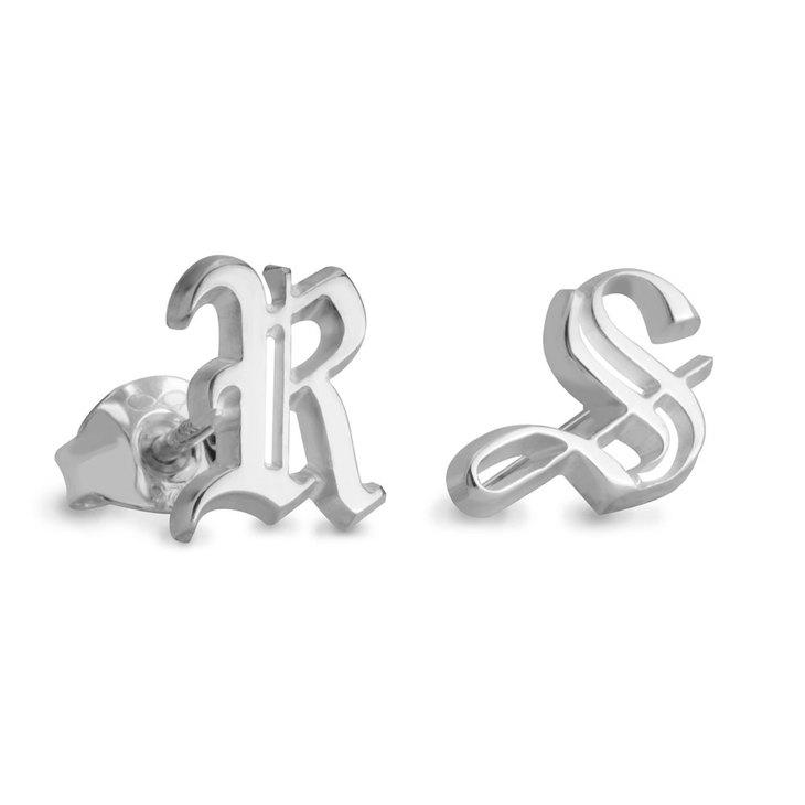 Gothic Initial Stud Earrings