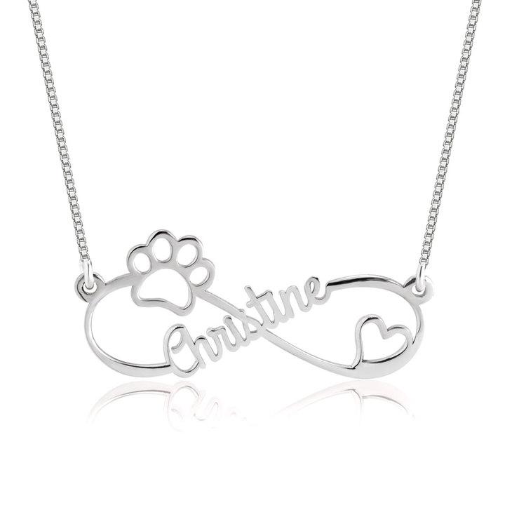 Infinity Dog Paw Necklace