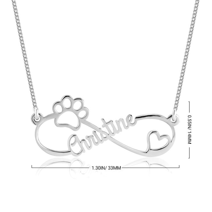 Infinity Dog Paw Necklace - Information