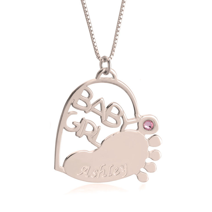 Baby Footprint Necklace with Birthstone - Picture 2