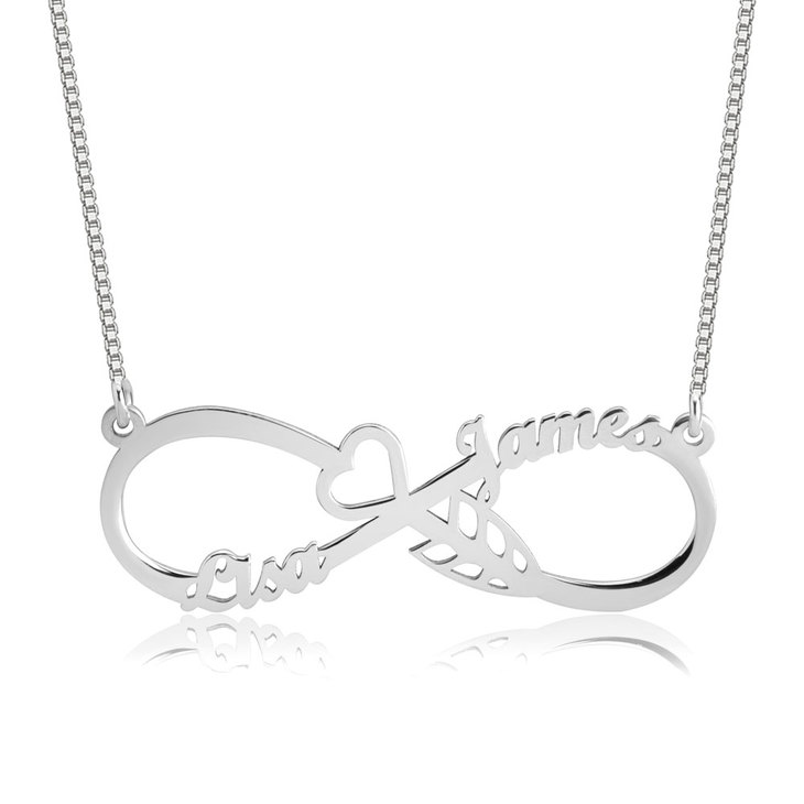 Heart With Arrow Infinity Necklace