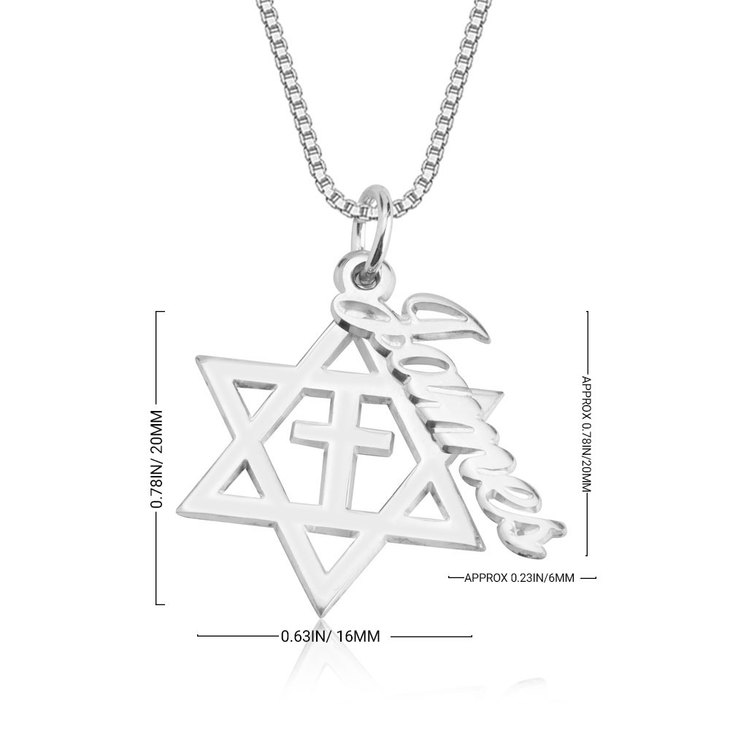 Cross & Star of David Name Necklace - Information