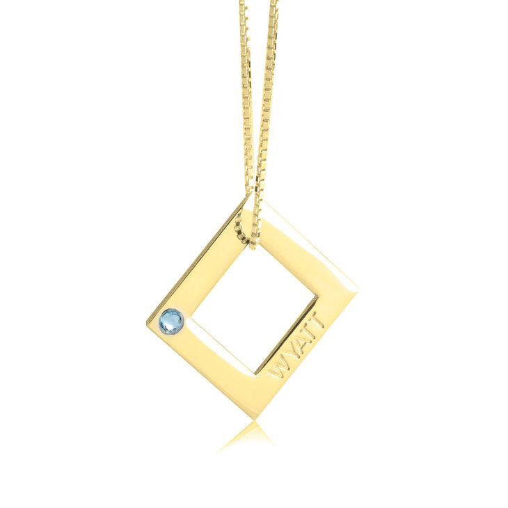 Geometric Shape Engraved Necklace - Picture 2