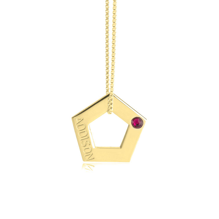 Geometric Shape Engraved Necklace - Picture 6