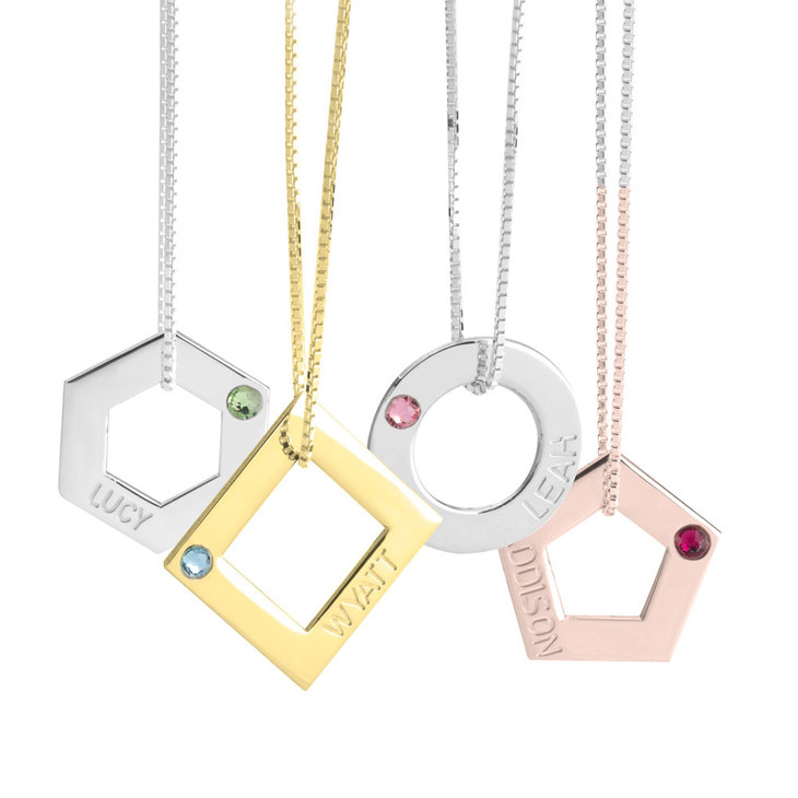 Geometric Shape Engraved Necklace