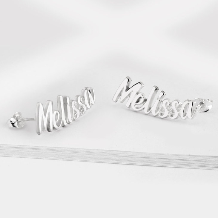 Curved Stud Name Earrings - Picture 2