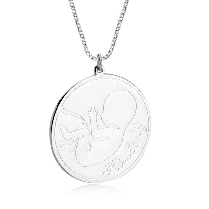 Embryo Shape Engraved Necklace