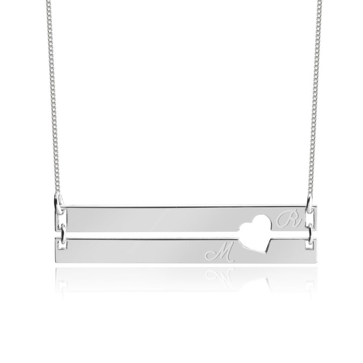 Engraved Bar Necklace with Two Initials
