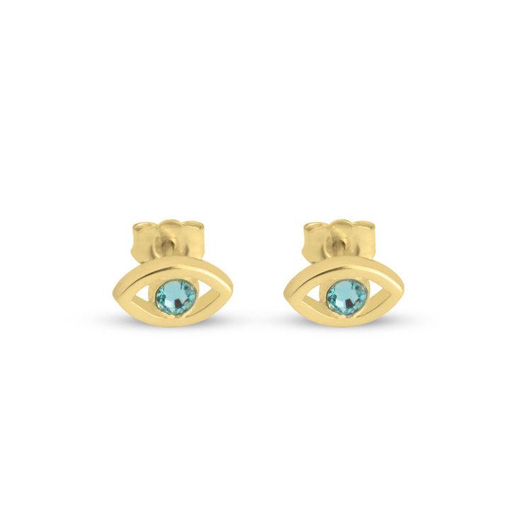 Evil Eye Birthstone Stud Earrings