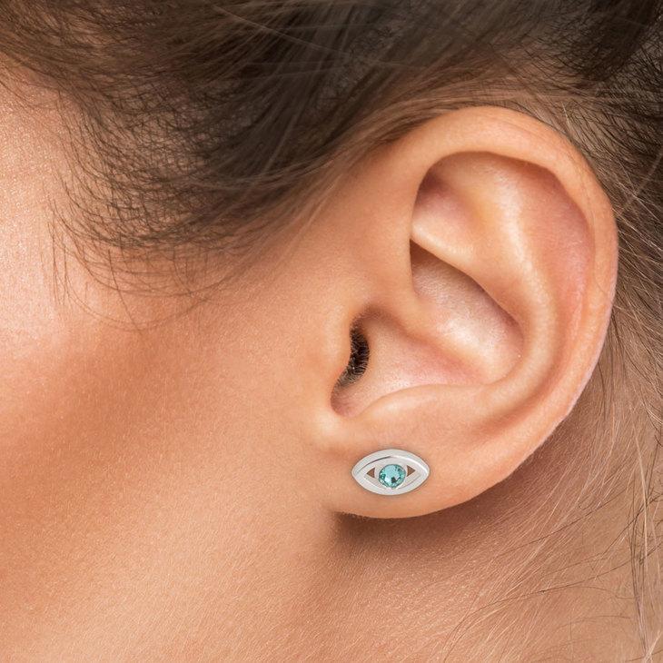 Evil Eye Birthstone Stud Earrings - Model