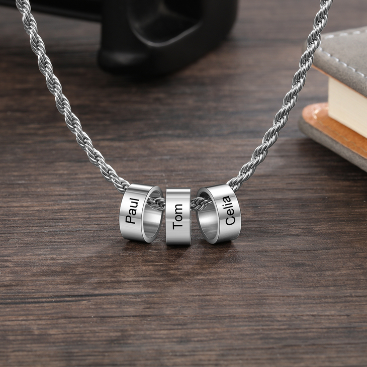 Unisex Necklace with Personalised Beads - Picture 5